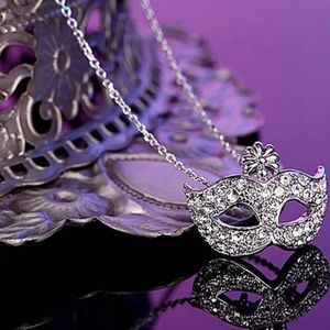 💠NEW Masquerade Mask Necklace Minimal Silver